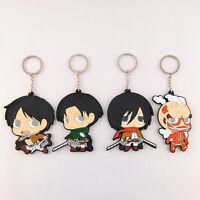 4Pcs Shingeki no Kyojin Attack On Titan Silicone Key Ring Chain Key Chain Mikasa