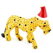 Hand Carved & Painted Jacaranda Wood Santa Hat Cheetah Safari Christmas Figurine