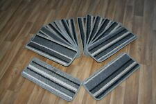 14 Striped Open Plan Carpet Stair Treads Funky Silver 001 14 Large Pads!