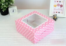 10X Cute Bakery Box Cake Window Pink White Polka Dot Brownie Sweet Dessert 15 cm