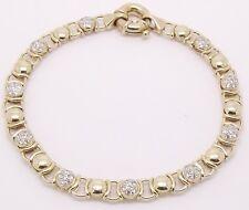 9CT YELLOW GOLD 60 X CUBIC ZIRCONIA BEETLE LINK BRACELET