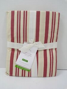 """Pottery Barn Antique Stripe Organic Shower Curtain 72"""" Red Ivory #8681"""