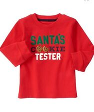 New GYMBOREE CHRISTMAS SANTA'S COOKIE TESTER Holiday SHIRT Boys 12-18 Months