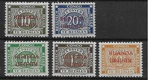 Ruanda-Urundi - Postage Due - 1943 - COB TX15/19** - Perf. 12 1/2 - MNH -