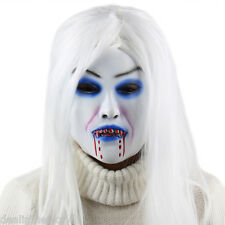 Scary White Witch Ghost Female Halloween Latex Mask with Straight Wig Masquerade