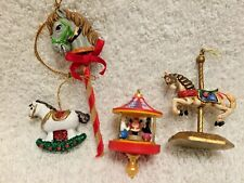 4 Carousel and Rocking Horse Christmas Ornaments Santa's Big Top 1995