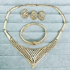 Clear Round Rhinestone Gold Plated Jewelry Set Earrings Necklace Bangle Ring