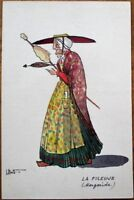 Hand-Painted, Original Art/Artist-Signed 1920s Postcard - Old Woman