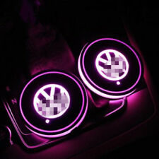 2PCS VW Pink LED Car Cup Holder Pad Mat for VOLKSWAGEN Auto Atmosphere Light