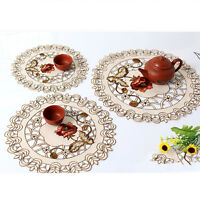 Set of 4 Round Embroidered Lace Floral Fabric Dining Table Placemats Kitchen