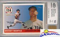 2006 Topps Home Run #114 Mickey Mantle w/WORN PANTS BECKETT 10 MINT GGUM