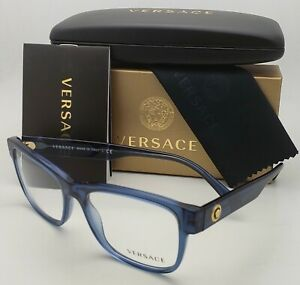 New VERSACE Rectangular Eyeglasses MOD. 3266 5292 55-17 Blue Frames w /Gold Logo