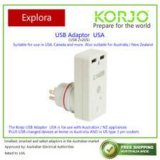 Korjo 2 Port USB and Power Adaptor, Charge at USA & Aus/NZ ( USA & Home)