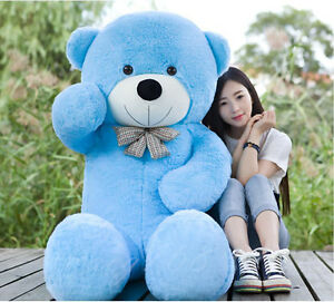 "GIANT 63"" TEDDY BEAR ""blue""HUGE SOFT STUFFED BIG PLUSH  bears Xmas gift 160cm"