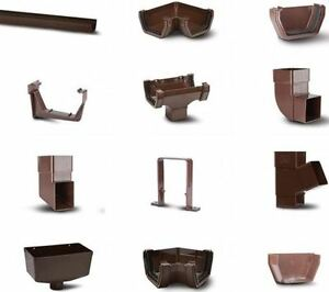 Brown Square Line Guttering Rainwater System UPVC Eurocell All Parts Available