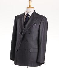 NWT $8995 KITON NAPOLI Charcoal Gray Nailhead Cashmere-Blend Suit 40 R (Eu 50)