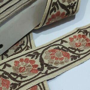 Vintage embroidered upholstrey beige/brown flowered sewing braid trim 50mm wide