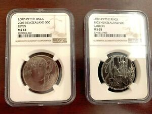 2003 New Zealand 50 Cents Lord Of The Rings Pippin Sauron MS64/65 NGC 2-Coin Set
