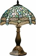 Tiffany Lamp 18 Inch Tall Sea Blue Stained Glass Dragonfly Crystal Style 60w