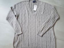 LADIES RALPH lauren POLO CABLE KNIT JUMPER COTTON TOP SIZE MEDIUM 12 14 sweater