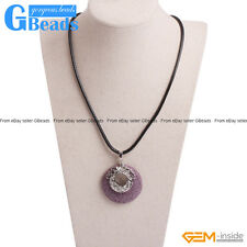 40mm Coin Lava Volcanic Sponge Stone Pendant Leather Rope Necklace Free Shipping