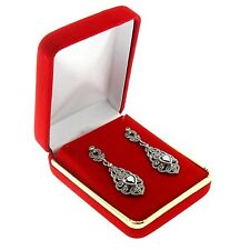 Red Velvet Pendant Charm Earring Box Display Jewelry Gift Boxes Gold Trim 1 Dzn