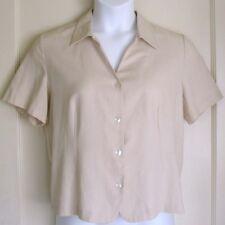 CROFT & BARROW Blouse Cream Rayon Blend w/ Tie Back Short Sleeve Women Size L