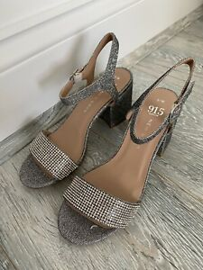 New Look Silver Glittery 3 Inch Sandal Shoes UK Size 3 Open Toe