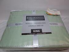 New Hotel PENINSULA Luxury Microfiber Embossed Stripe King Sheet Set ~ Green NEW
