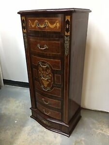 Beautiful Antique Style Inlay Wood 7 Drawer Lingere Chest W/ Brass Accent Walnut