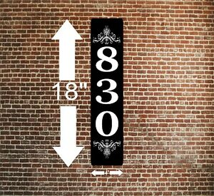 """Personalized Home Address Sign Aluminum 4"""" x 18"""" Custom House Number Plaque sq37"""