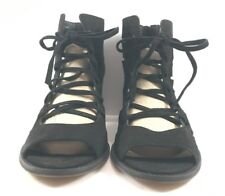 Vince Camuto Black Suede Tressa Open Toe Sandals Womens Size US 12M NWD