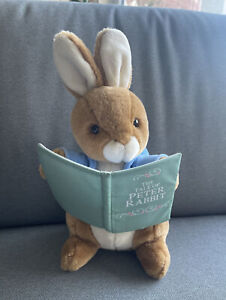"Eden Vintage Beatrix Potter Peter Rabbit Plush Stuffed 12"" Holding Reading Book"