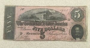 Feb 17 1864 $5 DOLLAR CONFEDERATE STATES/RICHMOND CURRENCY CIVIL WAR NOTE~#19537