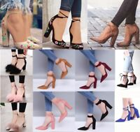 Women High Heels Pumps Suede Sandals Ankle Strap Pointed Toe Embroidery Wedding