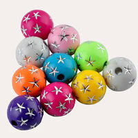 Random Mixed Colorful Star Acrylic Spacer Loose Beads Jewelry Making 8mm & 80Pcs