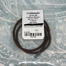 Authentic Trollbeads Leather Brown Necklace 17.7in/45cm (17in/43.1 actual), New