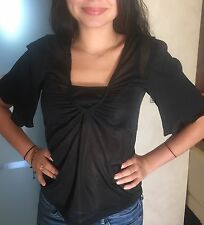 Taillenlange Damenblusen, - tops & -shirts mit Flügelärmeln ohne Muster