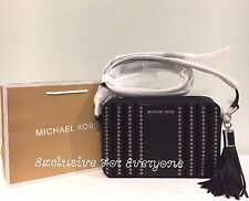 NWT Michael Kors Mini Grommets Large EW Black Crossbody LTR Leather Bag