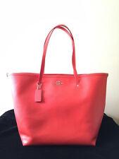 New COACH Leather Tote Shoulder Handbag Purse CORAL/SV F34099 34099
