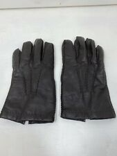 Mens Dark Brown Leather Winter Glove Cashmere Lined L-XL Patterned Leather