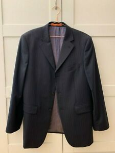 TED BAKER men's blazer 100% wool outer black with small stripes size 40 R