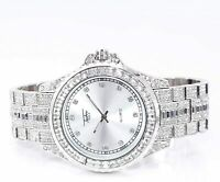 Fully Iced Men Silver Watch Bling Rapper Simulate Diamond Hip Luxury Club Party