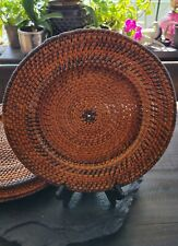 Set Of 4 Wicker Rattan Weaved Charger Plate Holders Very Nice!