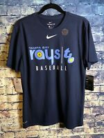 New With Tags Tampa Bay Rays Nike Dri Fit T-shirt Blue Adult Medium⚾️free Shipp