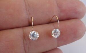 14K YELLOW GOLD DROP DANGLES LADIES EARRINGS W/ 2 CT ROUND DIAMONDS/ STUNNING