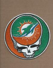 NEW 3 1/2 INCH MIAMI DOLPHINS GRATEFUL DEAD IRON ON PATCH FREE SHIPPING