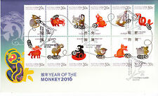 2016 Christmas Island Year of The Monkey (Block of 12) FDC - Christmas Is PMK