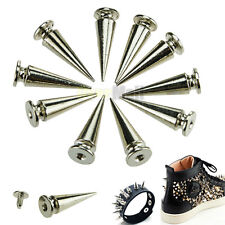 10pc 26mm Silver Spots Cone Screw Metal Studs Leathercraft Rivet Bullet Spikes