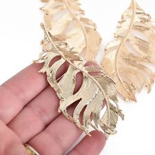 """2 Large Light Gold Filigree FEATHER Charms 3-1/4"""" long chs4226"""